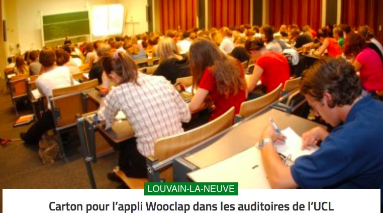 Dans la presse : Carton pour l'appli Wooclap dans les auditoires de l'UCL
